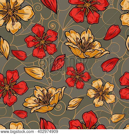 Vintage Colorful Japanese Floral Seamless Pattern With Beautiful Sakura Flowers And Petals On Tradit