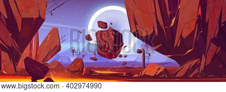 Space, Alien Planet Landscape With Rocks And Lava In Cracks. Extraterrestrial Mountains Panoramic Vi