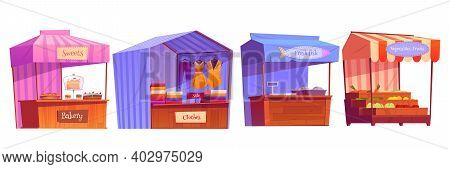 Market Stalls, Fair Booths, Wooden Kiosk With Striped Awning, Clothes, Bakery And Food Products. Woo
