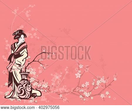 Spring Season Vector Background With Beautiful Japanese Geisha And Flower Vase Among Sakura Tree Bra