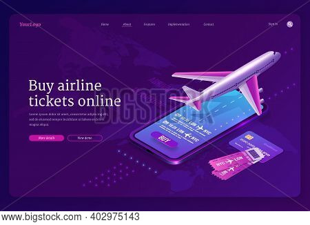 Buy Airline Ticket Online Isometric Landing Page With Plane On Runway, Booking Application On Smartp