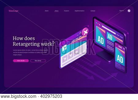 Retargeting Or Remarketing Ad Isometric Landing Page, Advertising Business Methodology Attract Custo