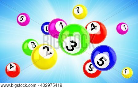 Lotto Balls 3d Vector Bingo, Lottery Or Keno Gambling Games Colourful Scatter Flying Spheres With Lu