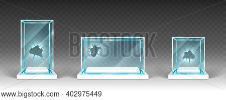 Broken Glass Showcases, Displays, Exhibit Stands, Transparent Boxes With Holes On White Base Front V