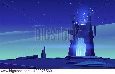 Magic Portal In Stone Frame On Desert Landscape At Night. Vector Cartoon Fantasy Illustration, Game