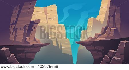 Mountain Landscape With Precipice In Rocks. Vector Cartoon Illustration Of Abyss Between Cliffs, Can