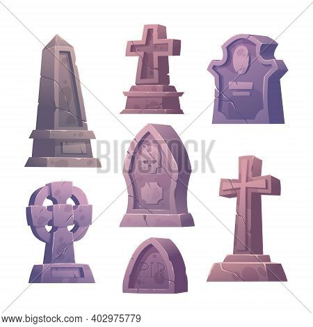 Cemetery Tombstones, Graveyard Buildings, Cracked Stone Cross, Pillar And Mausoleum Tomb With Rip Si
