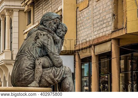 Skopje / North Macedonia, May 12 2019: Fountain Of The Mothers Of Macedonia. Statue Of A Mother With