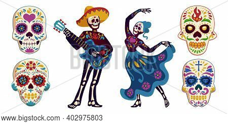 Day Of The Dead, Dia De Los Muertos Characters Dancing Catrina Or Mariachi Musician Skeletons And Su