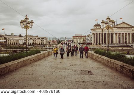Skopje / North Macedonia, May 12 2019: The Archaeological Museum Of Macedonia And Macedonian People