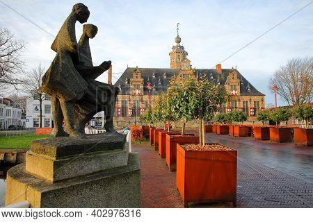 Middelburg, Netherlands - December 13, 2020: Kloveniersdoelen, An Old Renaissance Building, Viewed F