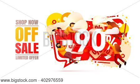 Shop Now Off Sale, 90 Interest Discount, Limited Offer. Vector
