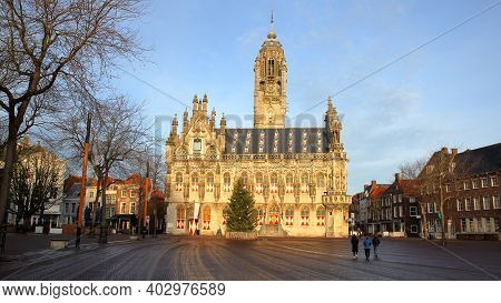 The Impressive Gothic Styled Stadhuis (town Hall), Located On The Markt (main Square) In Middelburg,