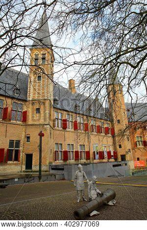 Middelburg, Netherlands - December 13, 2020: The Internal Courtyard Of Middelburg Abbey (abdij), Wit