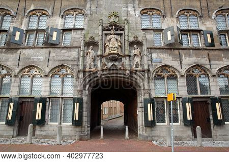 Gistpoort, The Gothic Access Gate To The Abbey (abdij) Of Middelburg, Zeeland, Netherlands, With Its