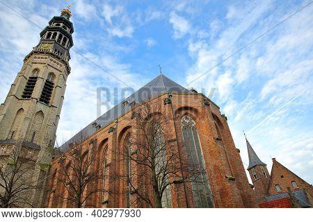 The Impressive Abdijtoren De Lange Jan (long John Abbey Tower) In Middelburg, Zeeland, Netherlands