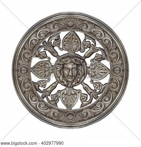 Silver Decorative Architectural Element With Floral Ornament And Mask Of Antique Deity. Design Eleme