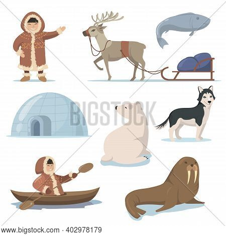 Alaska Elements And Happy Inuits Flat Set For Web Design. Cartoon Eskimo Characters In Traditional C