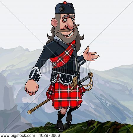 Cartoon Scottish Highlander In Smart Clothes In Kilt And Sword Stands High In The Mountains