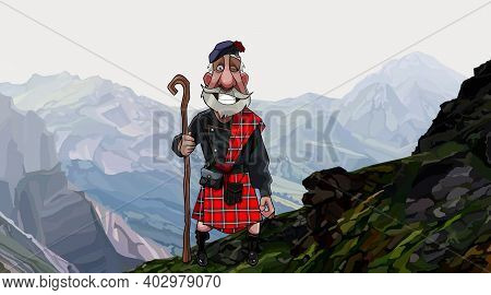 Cartoon Smiling Gray Haired Scottish Highlander In A Kilt With Staff In His Hand Stands On A High Mo