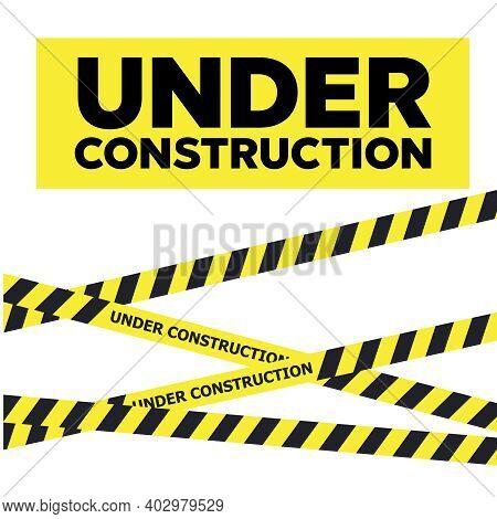 Under Construction Website Page. Warning Tape Banner