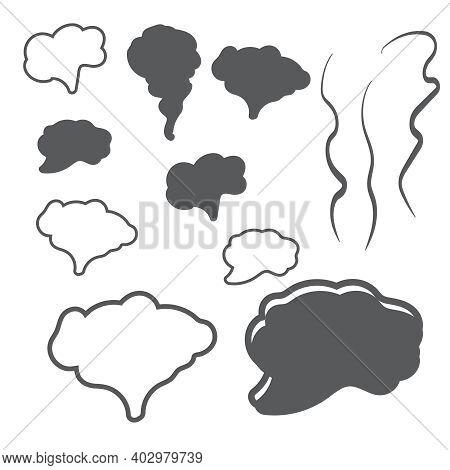 Steam Smoke Realistic Set. Steam, Cloud And Smoke Icons