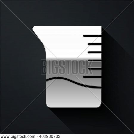Silver Measuring Cup Icon Isolated On Black Background. Plastic Graduated Beaker With Handle. Long S