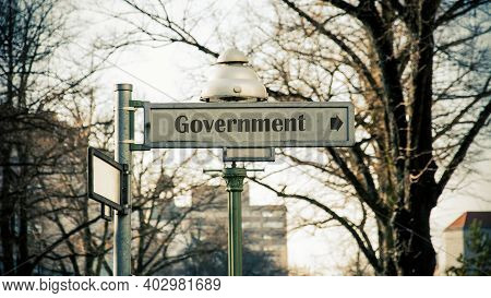Street Sign The Direction Way To Government
