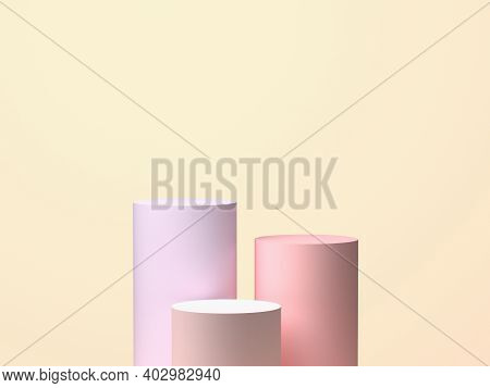 Three Cylinders On Pastel Background. 3d Rendering