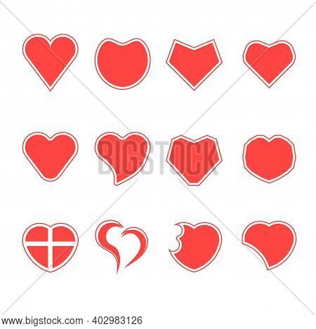 Set Of Multiple Style Red Heart Shapes Vector Isolated On White Background. Symbol Of Love For Valen