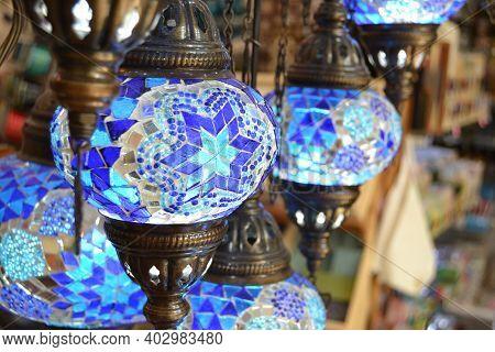 Blue Mosaic Oriental Turkish Lamp,chandelier In A Bazaar.