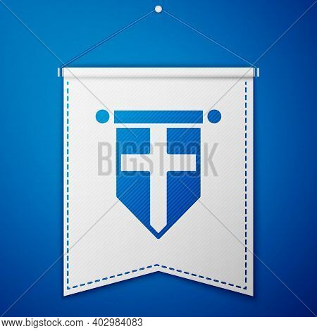 Blue England Flag On Pennant Icon Isolated On Blue Background. White Pennant Template. Vector