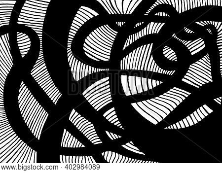 Decorative Black Psychedelic Curly Lines Labyrinth, Isolated On White.