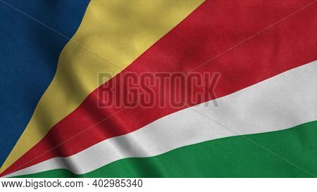 Seychelles Flag Waving In The Wind. Sign Of Seychelles. 3d Illustration.