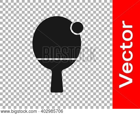 Black Racket For Playing Table Tennis Icon Isolated On Transparent Background. Vector