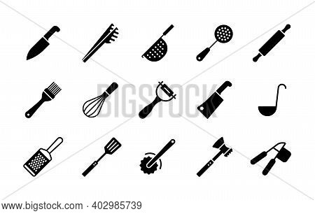 Kitchenware And Kitchen Vector Icon Glyph Set. Graph Symbol For Cooking Web Site And Apps Design, Lo