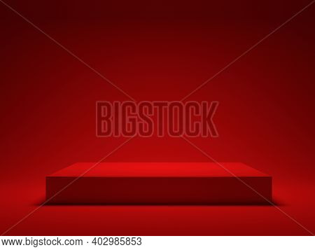 Red Platform For Showing Product. 3d Rendering