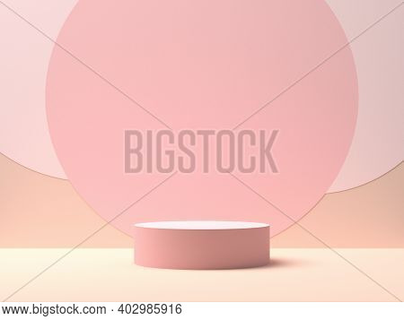 Pink Round Stage On Pink Background With Circle Shapes In The Middle. 3d Rendering