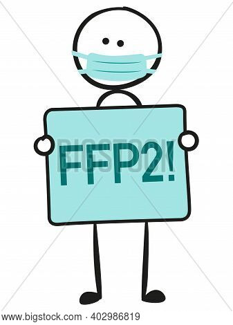 Stick Figure With Wear Ffp2 Mask Isolated
