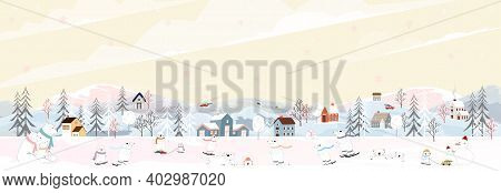 Winter Landscape, Celebrating Christmas And New Year In Village At Night With Happy Polar Bear Playi