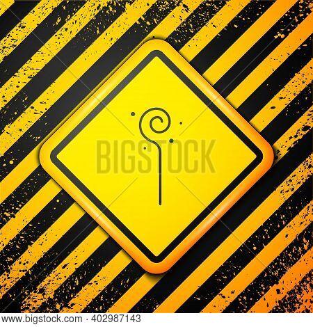 Black Magic Staff Icon Isolated On Yellow Background. Magic Wand, Scepter, Stick, Rod. Warning Sign.