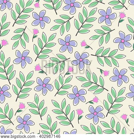 Modern Fashionable Vector Seamless Floral Ditsy Pattern Design. Elegant Repeating Blooming Flowers A