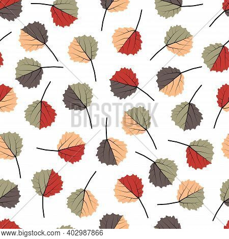 Elegant Trendy Seamless Vector Floral Ditsy Pattern Design Of Tropical Aspen Leaves. Trendy Foliage
