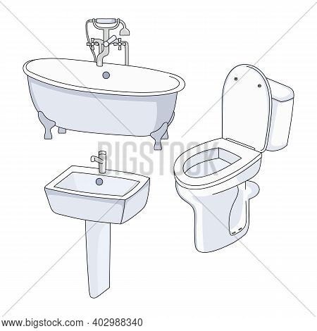 Vector Toilet, Bath And Sink. Collection Of Bathroom Fixtures On A White Background.