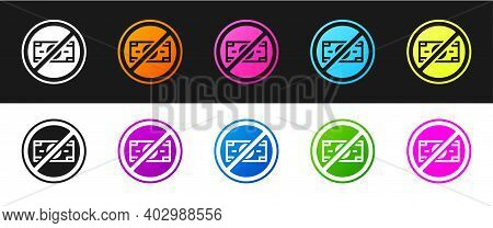 Set No Money Icon Isolated On Black And White Background. Prohibition Of Money. Vector