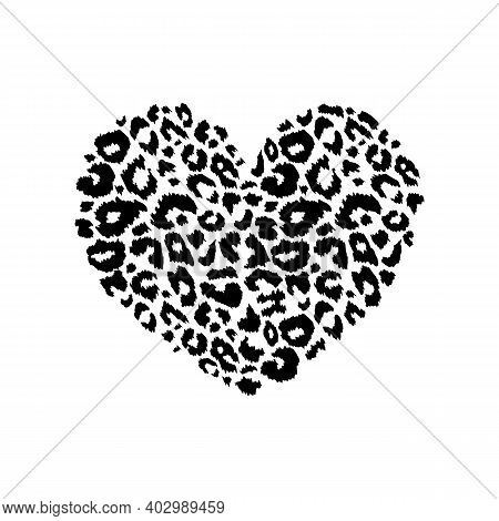 Leopard Print Textured Heart Shape. Abstract Design Element With Wild Animal Cheetah Spot Skin Patte