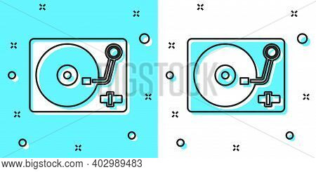 Black Line Vinyl Player With A Vinyl Disk Icon Isolated On Green And White Background. Random Dynami