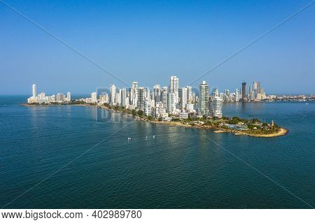 Modern Skyline Of Cartagena De Indias In Colombia On The Caribbean Coast Of South America. Bocagrand