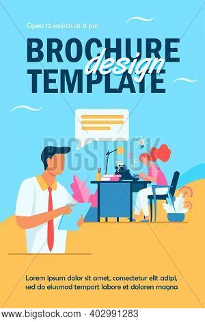 Female Writer Typing New Text For Editor. Article, Book, Idea Flat Vector Illustration. Typography A