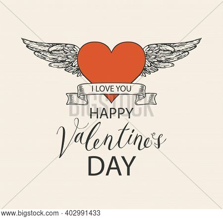 Valentine Card Or Postcard With Red Heart, Hand-drawn Wings And Ribbon. Romantic Vector Card In Retr